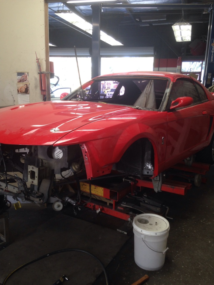 work on red car